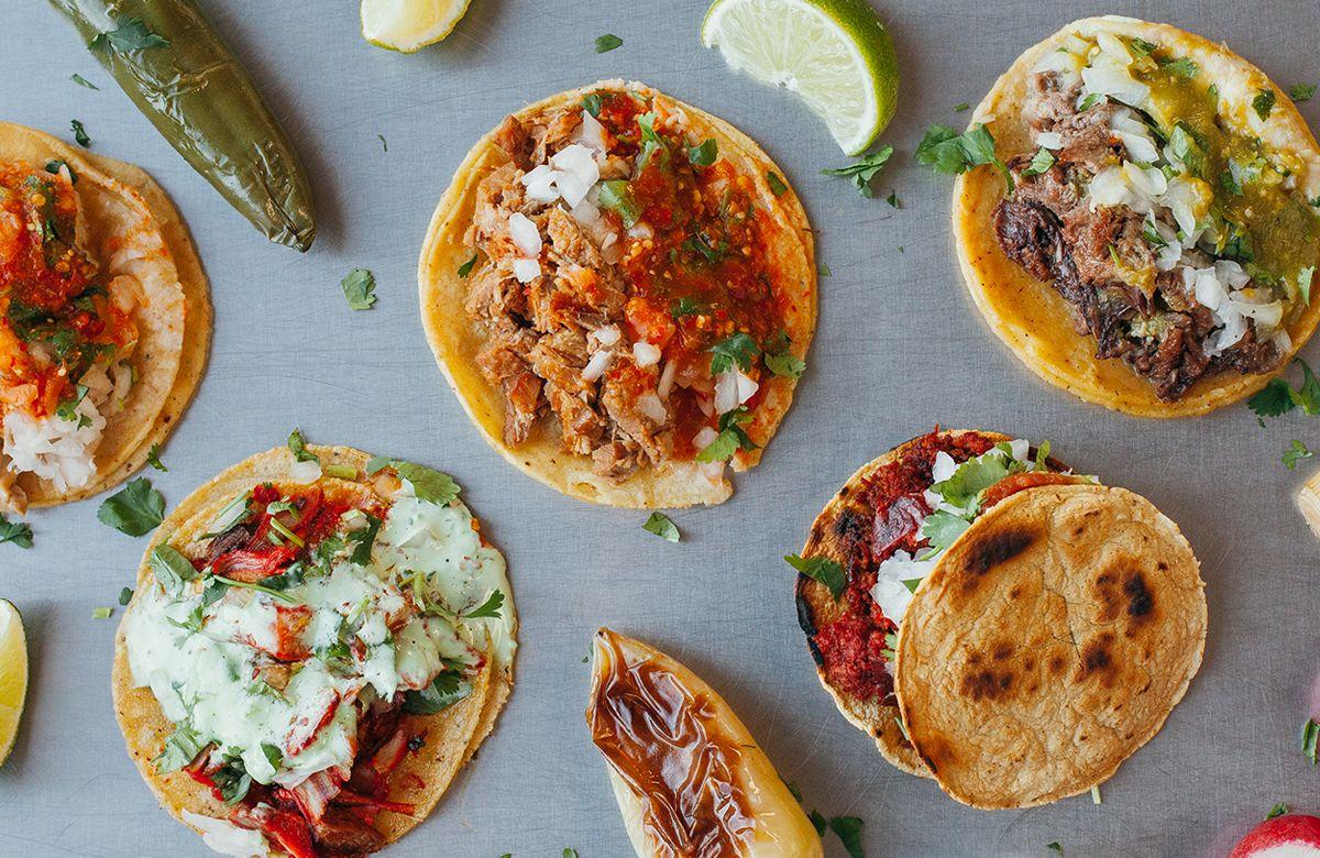 An overhead shot of tacos