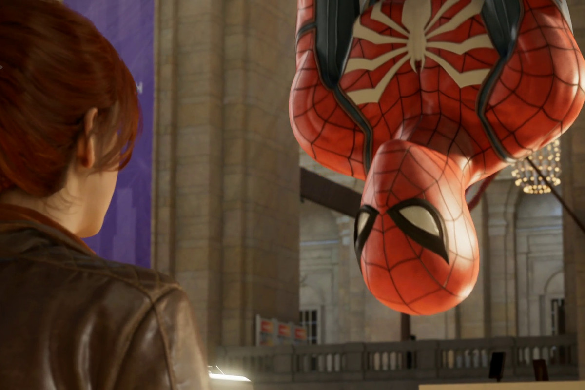 Spider-Man - Spidey hanging upside down and talking to MJ