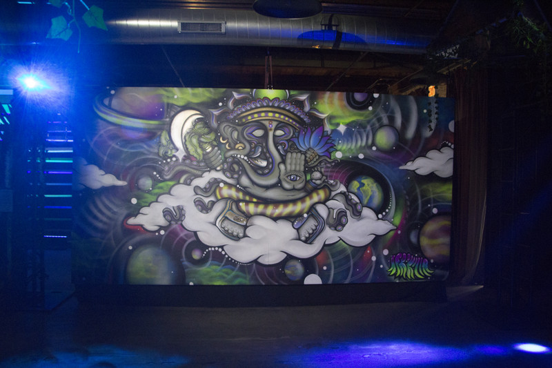 This mural by Keith Smith, who goes by Afrokilla, features an elephant-like creature surrounded by clouds. It's one of several murals that make up the Artopia popup exhibition in the West Loop.