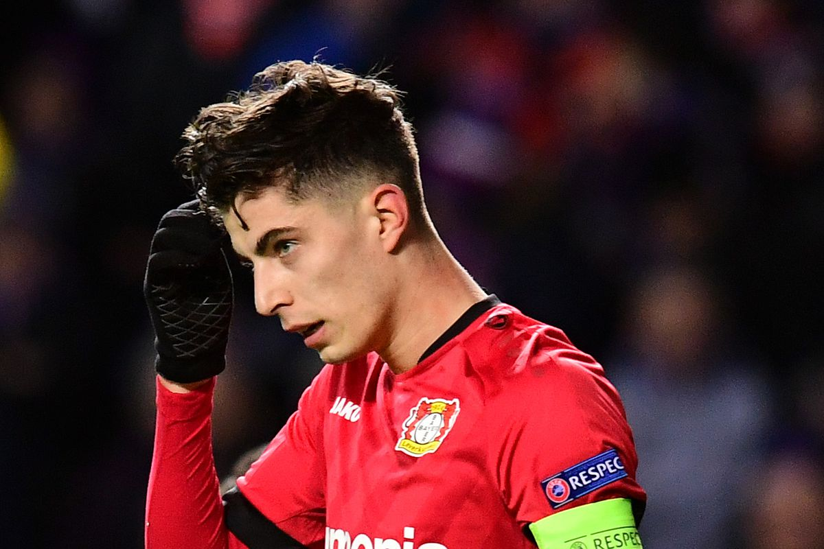 Kai Havertz of Bayer 04 Leverkusen celebrates after scoring his team's first goal during the UEFA Europa League round of 16 first leg match between Rangers FC and Bayer 04 Leverkusen at Ibrox Stadium on March 12, 2020 in Glasgow, United Kingdom.
