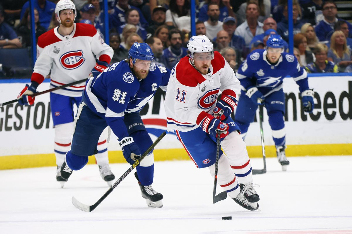 Brendan Gallagher #11 of the Montreal Canadiens skates against the Tampa Bay Lightning in Game 5 of the 2021 NHL Stanley Cup Final at Amalie Arena on July 07, 2021 in Tampa, Florida.