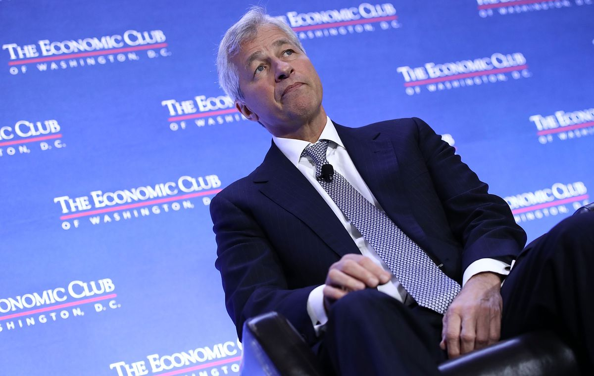 JP Morgan Chase CEO Jamie Dimon speaks at a conference on September 12, 2018. He won't be doing the same thing in Saudi Arabia later this month.