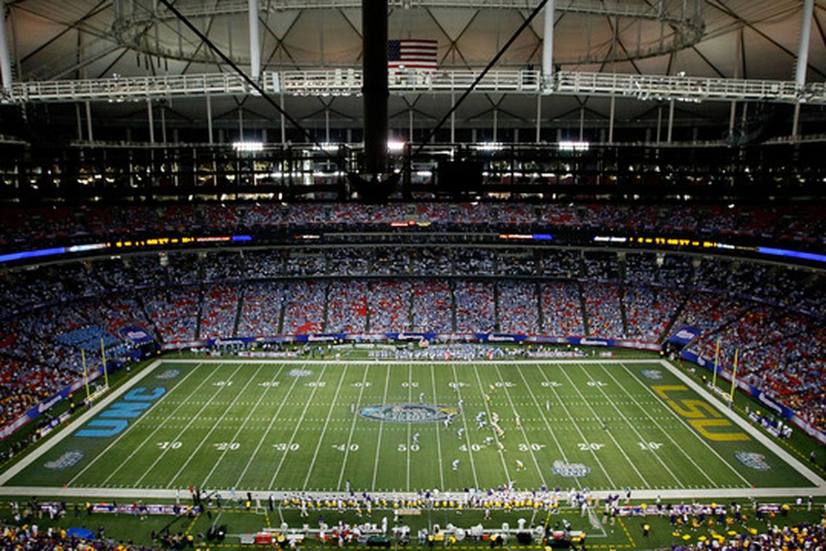 ATLANTA - SEPTEMBER 04:  A general view of the Georgia Dome during the game between the LSU Tigers and the North Carolina Tar Heels in the Chick-fil-A Kickoff Game on September 4 2010 in Atlanta Georgia.  (Photo by Kevin C. Cox/Getty Images)