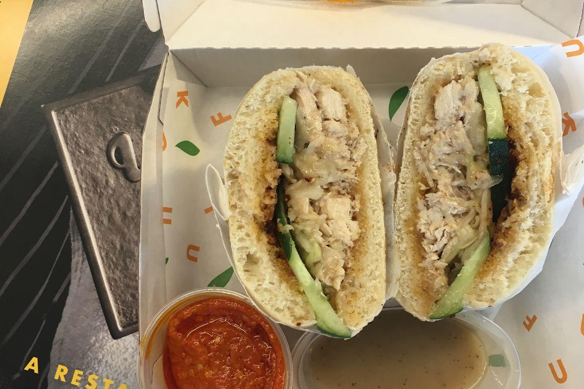 Fuku's chicken dip sandwich