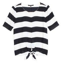 "<b>Tibi</b> Stripe Tie Top, <a href=""http://www.tibi.com/shop/clothing/tops/stripe-tie-top"">$275</a>"