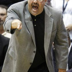 Orlando's Head Coach Stan Van Gundy yells out to his team as the Utah Jazz and the Orlando Magic play Saturday, April 21, 2012 in Energy Solutions arena.