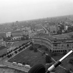 Seen from a helicopter, the bombed shell of a great building, designed by the Nazis to be Berlin's main tourist center, in Berlin on August 10, 1961.