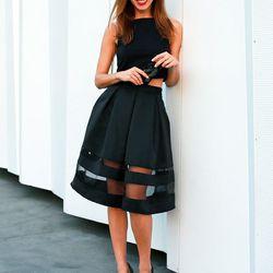 "Sydne of <a href=""http://www.sydnestyle.com""target=""_blank"">Sydne Style</a> is wearing an Express <a href=""http://www.express.com/clothing/high+waist+sheer+inset+pleated+skirt/pro/7736170/cat2011?AID=11913451&PID=4441350&SID=n-ivt8afsuw--1172746794&CID=55"