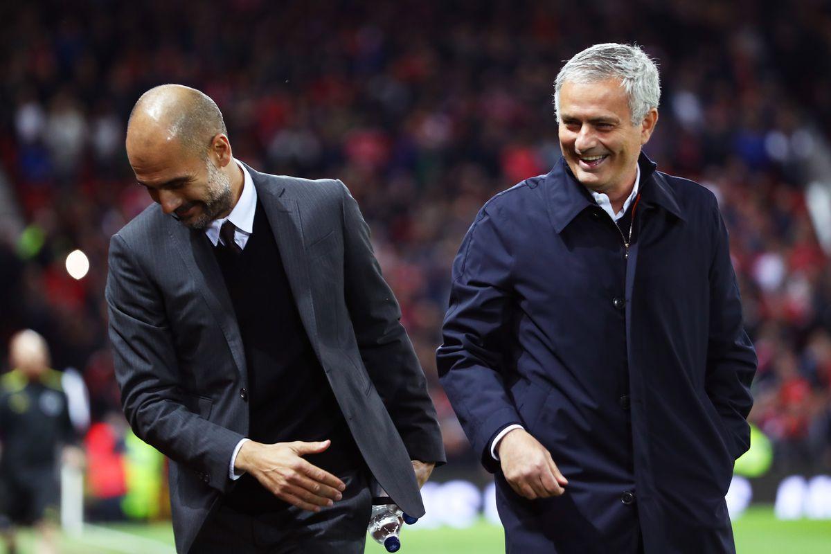Josep Guardiola and Jose Mourinho - Manchester City v Manchester United - Premier League