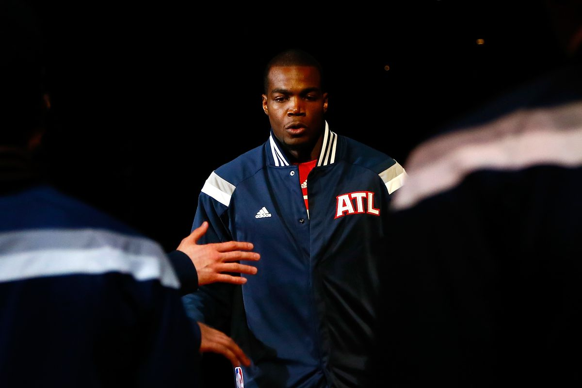 Paul Millsap being introduced before playing The Bulls