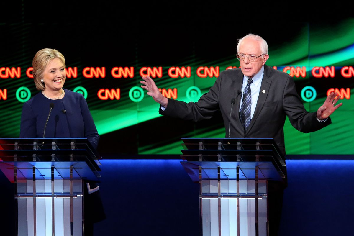 Hillary Clinton and Bernie Sanders during the Democratic debate in Flint, March 6, 2016.