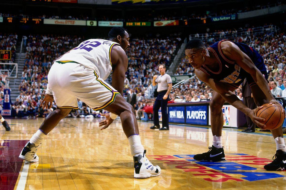 LaPhonso Ellis eyes down Karl Malone during the 1994 Playoffs Round 2.
