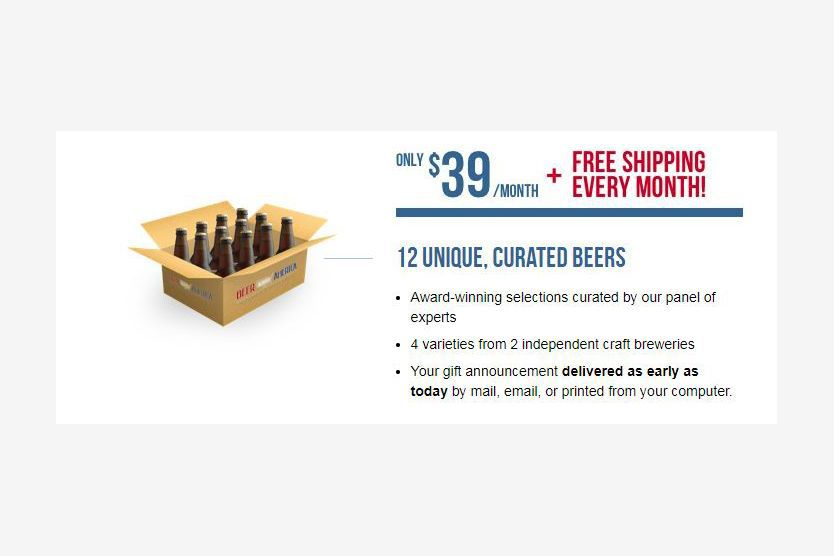 An ad for the Beer Across America Monthly Subscription with the price and what is included