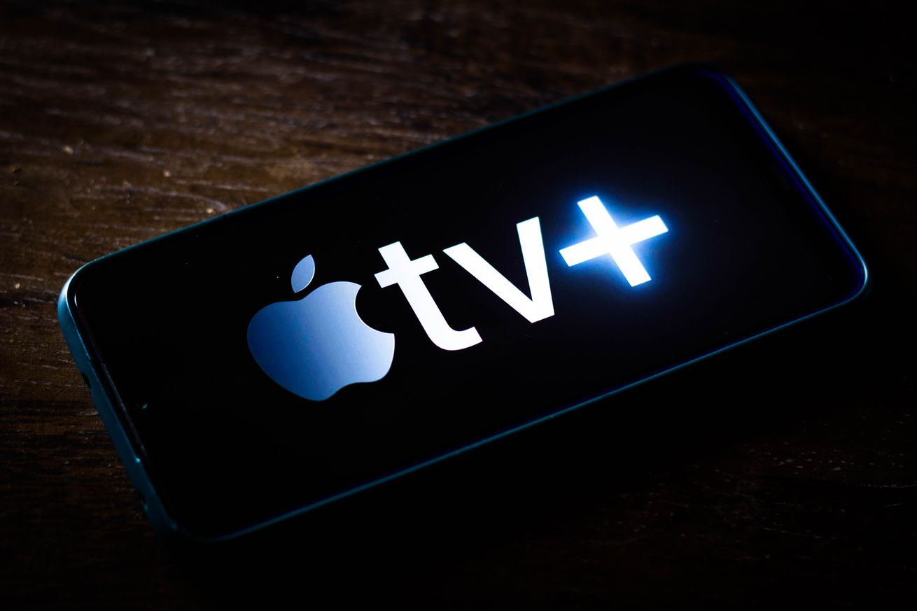 In this photo illustration the Apple TV+ (Plus) logo is displayed on a smartphone screen.