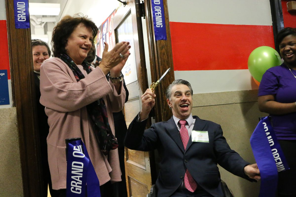 Corinne Rello-Anselmi (left) launched a new transition center embedded in DeWitt Clinton High School in 2017.