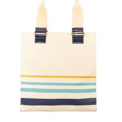 Look 18: Canvas Tote with Blue Stripe, $39.99