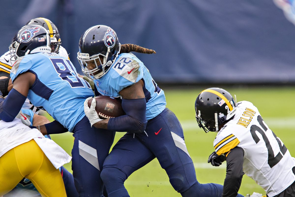 Derrick Henry #22 of the Tennessee Titans runs the ball during a game against the Pittsburgh Steelers at Nissan Stadium on October 25, 2020 in Nashville, Tennessee.