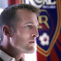 Real Salt Lake coach Jason Kreis prior to boarding a plane to Seattle to face the Galaxy for MLS Cup.