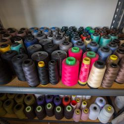What's a design studio without oversized spools of thread?