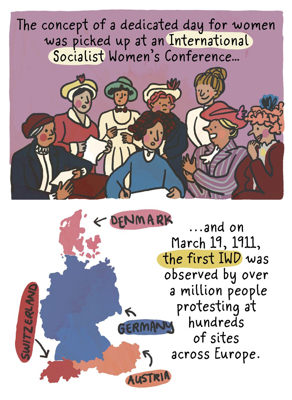 The concept of a dedicated day for women was picked up at an International Socialist Women's Conference, and on March 19, 1911, the first International Women's Day was observed by more than a million people protesting at hundreds of sites across Europe.