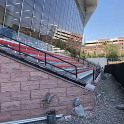 The bleacher are in at NJIT's new soccer and lacrosse stadium. The new stadium will be able to hold around 1,000 spectators with an 851-seat grandstand.