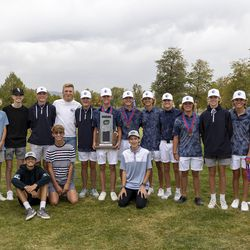Corner Canyon players and coaches pose for photos after taking second place in the 6A boys state tournament at Davis Park Golf Course in Kaysville on Tuesday, Oct. 5, 2021.
