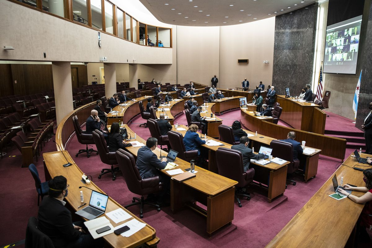The Chicago City Council met in person Wednesday for the first time in more than a year, but 22 members still preferred to participate remotely.