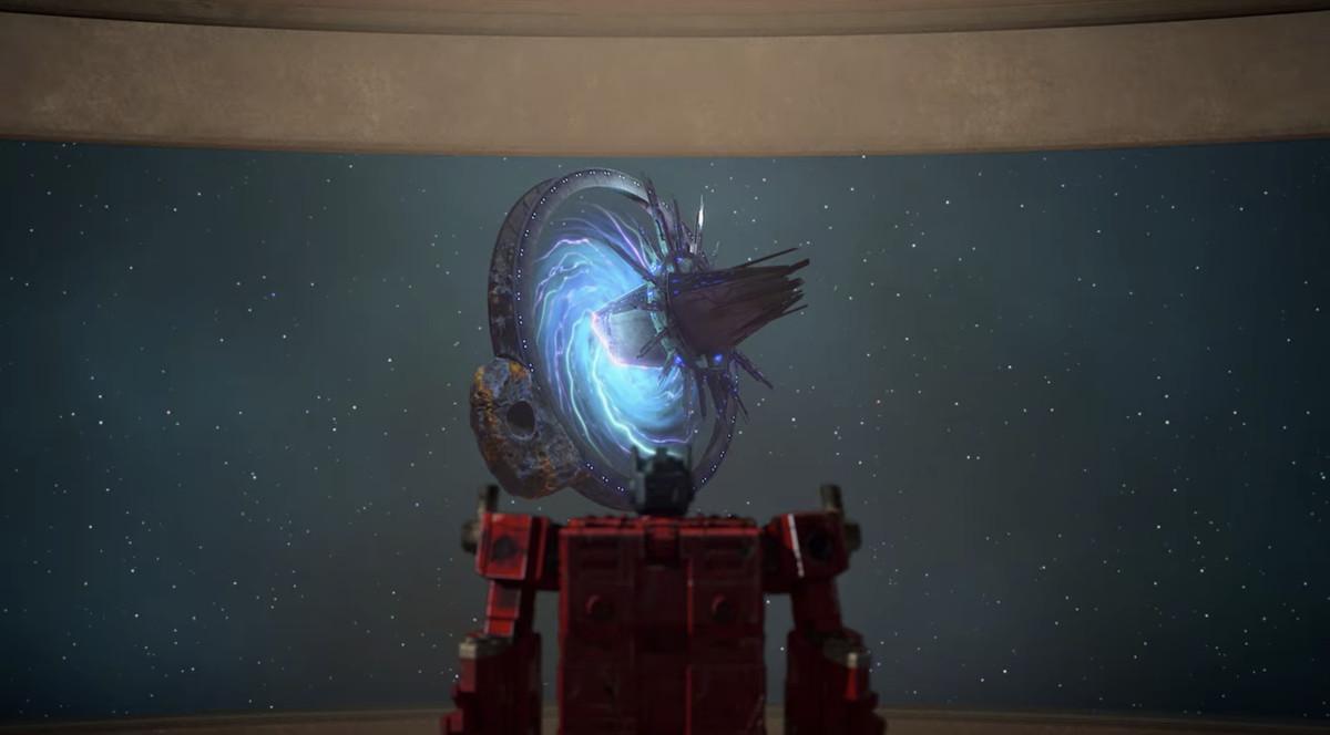 Optimus Prime looking at Nebulon Station