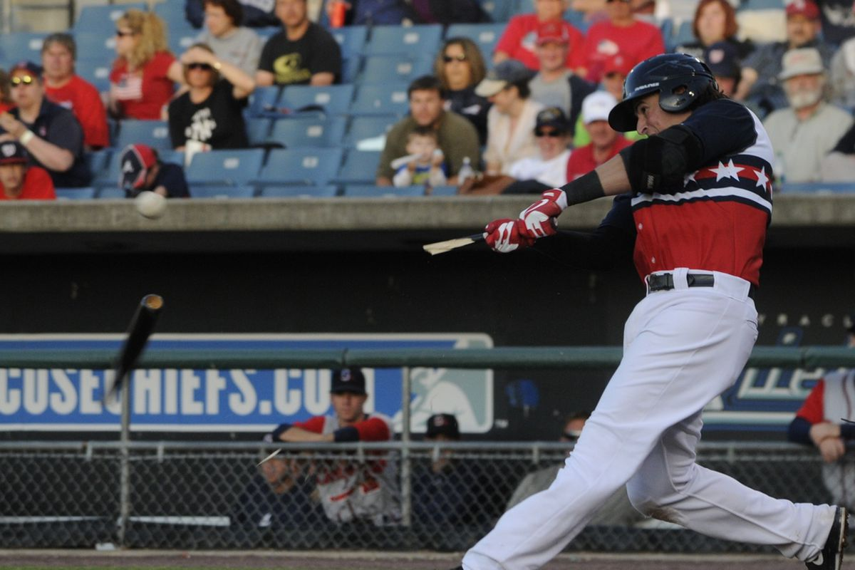 Chris Marrero breaks his bat, but hits an RBI single on Monday for the Syracuse Chiefs. Marrero drove in two with a double in Syracuse on Tuesday.