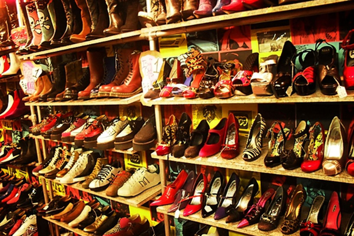 """Wall of shoes at Trash &amp; Vaudeville via <a href=""""http://www.flickr.com/photos/vivnsect/4999611155/in/pool-312691@N20/"""">Vivienne Gucwa</a>/Racked Flickr Pool"""