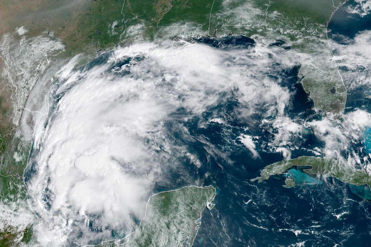 Tropical Storm Nicholas in the Gulf of Mexico.