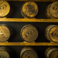 The entrance to 1923 Bourbon & Burlesque. This is their own line of bourbon in the casks.