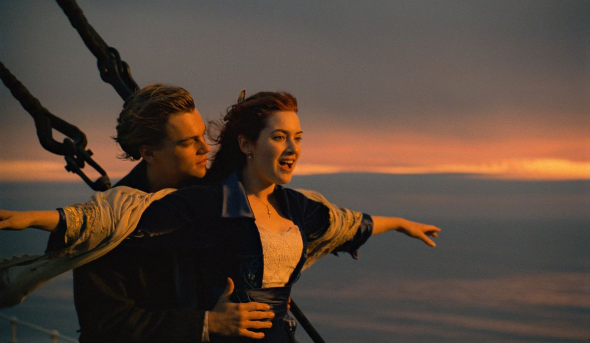 Leonardo DiCaprio and Kate Winslet stand on the prow of the Titanic in Titanic.