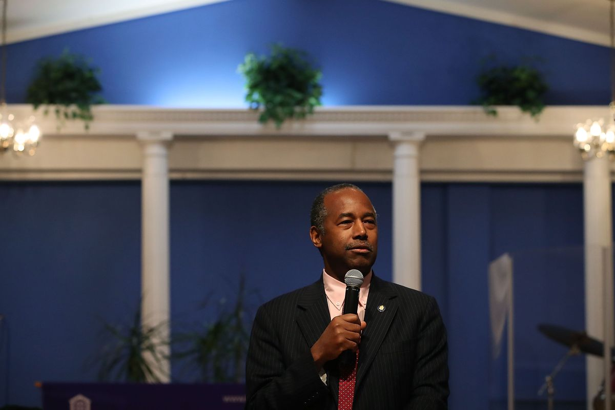Housing and Urban Development (HUD) Secretary Ben Carson speaks about the Family Self-Sufficiency program during a news conference. Carson recently supported replacing anti-discrimination language with a reference to self-sufficiency in HUD's mission stat