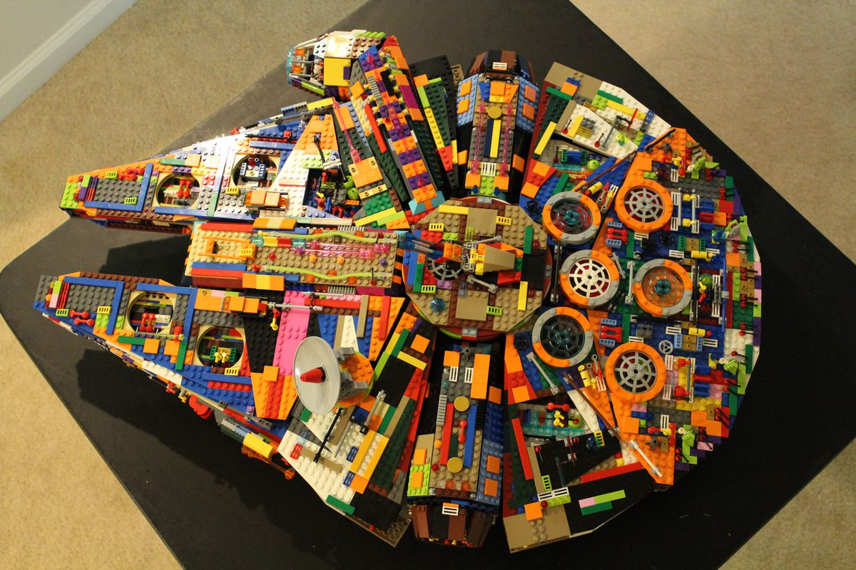 A multicolored Lego Millennium Falcon, seen from the top