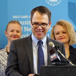 Mike Ackerlow, deputy director of the Department of Community and Neighborhoods, speaks in Salt Lake City on Thursday, Feb. 2, 2017, as Growing SLC: A Five-Year Plan 2017-2021 is launched.