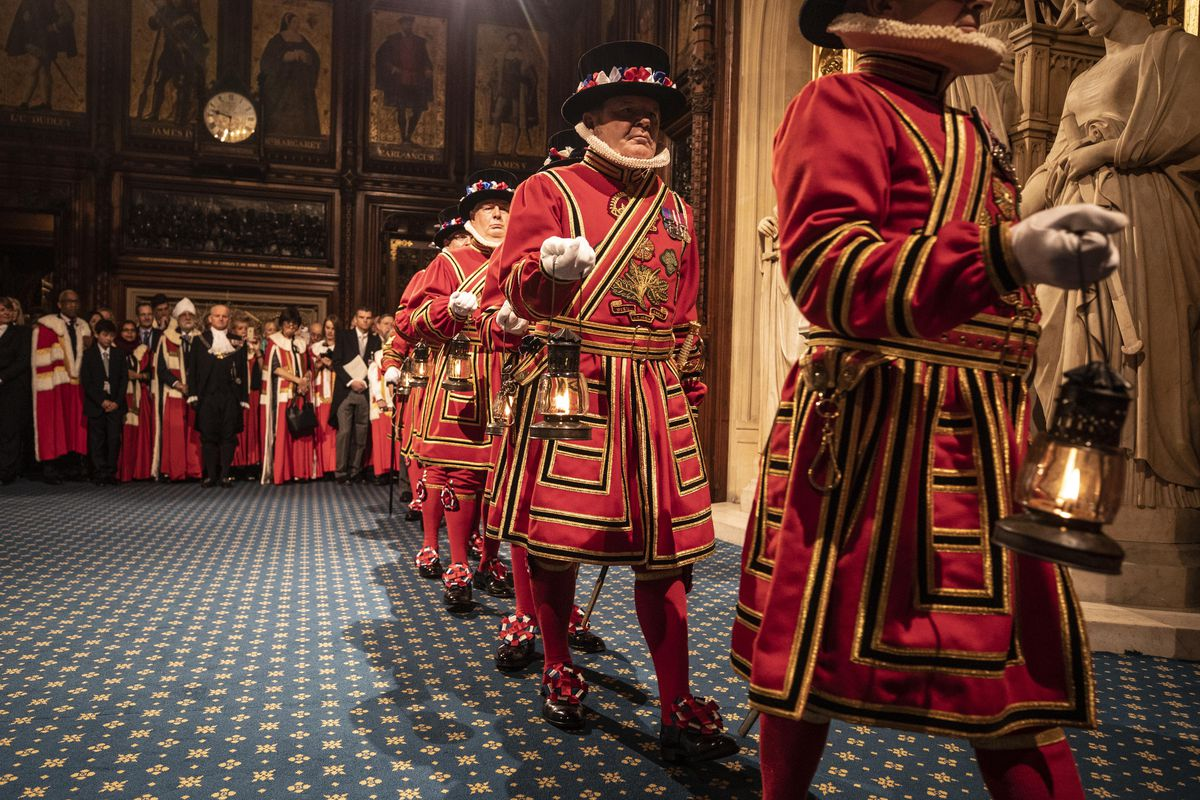 Yeoman of the Guard searching for gunpowder at the Houses of Parliament