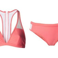 "T by Alexander Wang mesh racerback bikini top, <a href=""http://www.kirnazabete.com/swim-31/all-swim/mesh-racerback-bikini-top?color=Watermelon"">$117</a> (down from $195); mesh bikini bottoms, <a href=""http://www.kirnazabete.com/swim-31/all-swim/mesh-bikin"