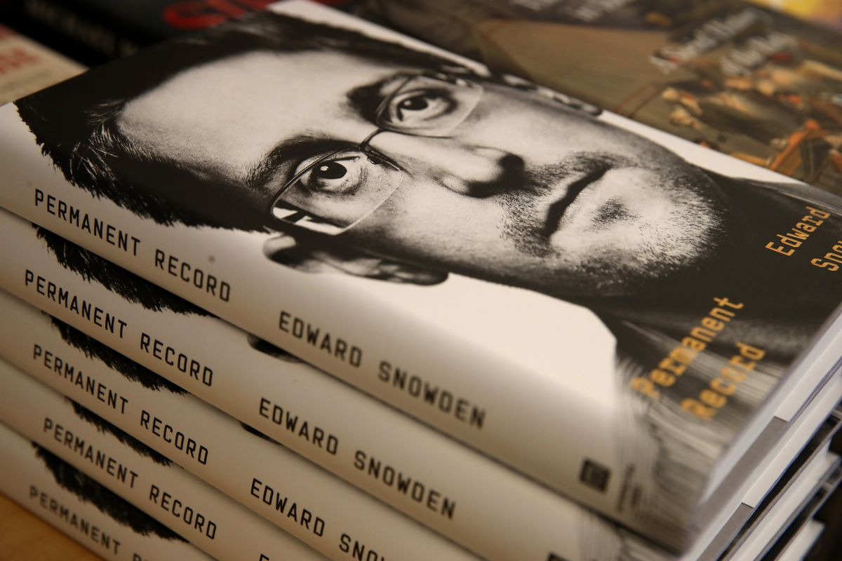 """A stack of Edward Snowden's new book """"Permanent Record."""""""