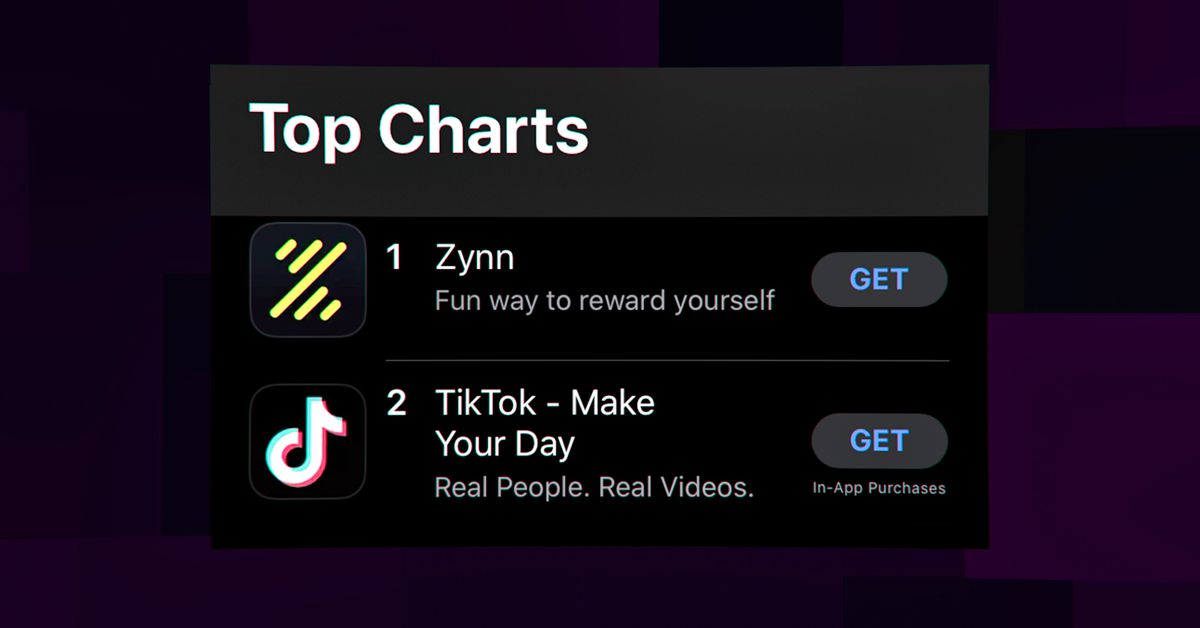 Zynn, a TikTok clone, topped the App Store by paying users to watch videos