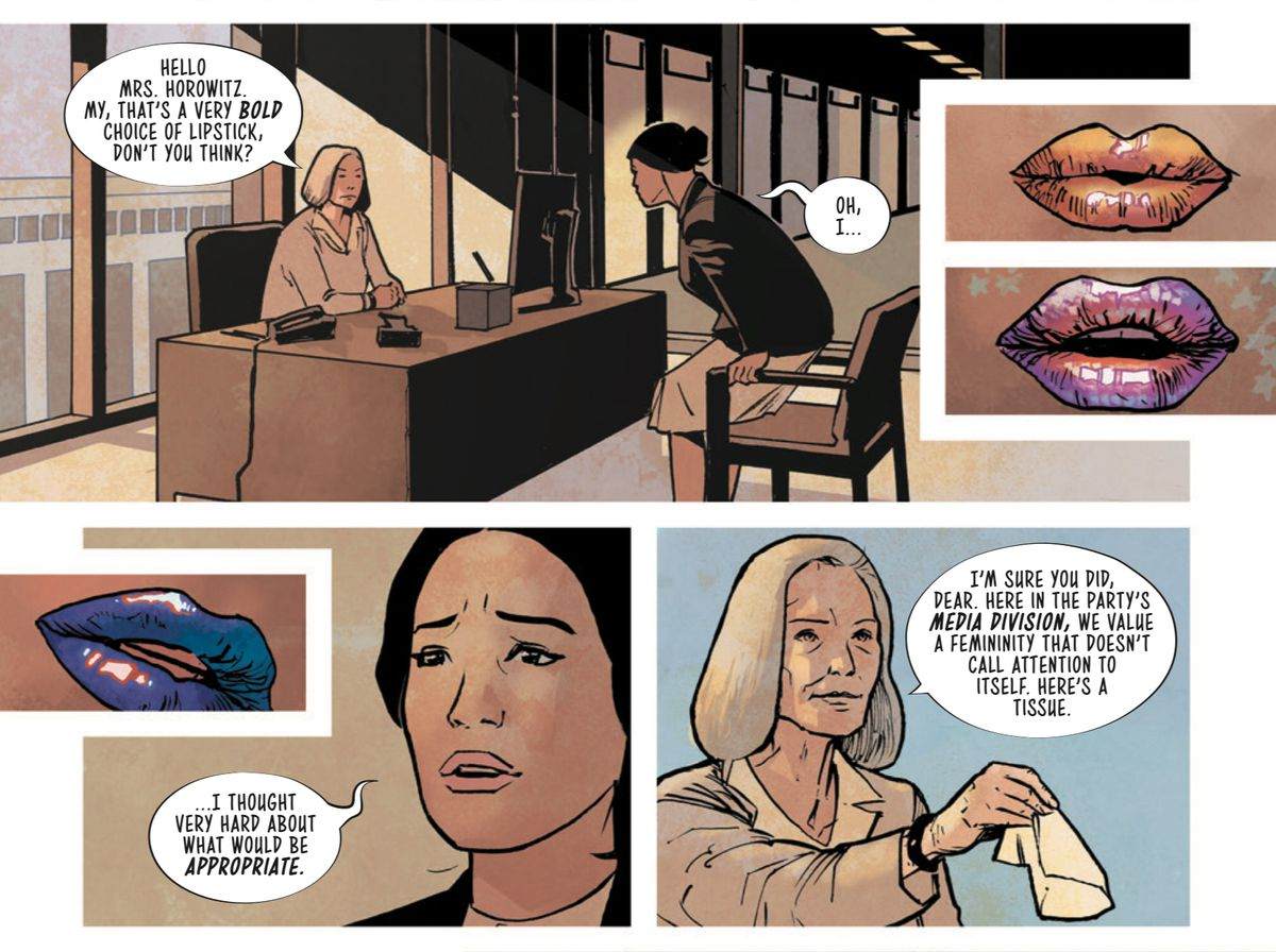 Avory goes to a job interview where her nearly invisible lipstick is criticized for being to bold, in SFSX #1, Image Comics (2019).