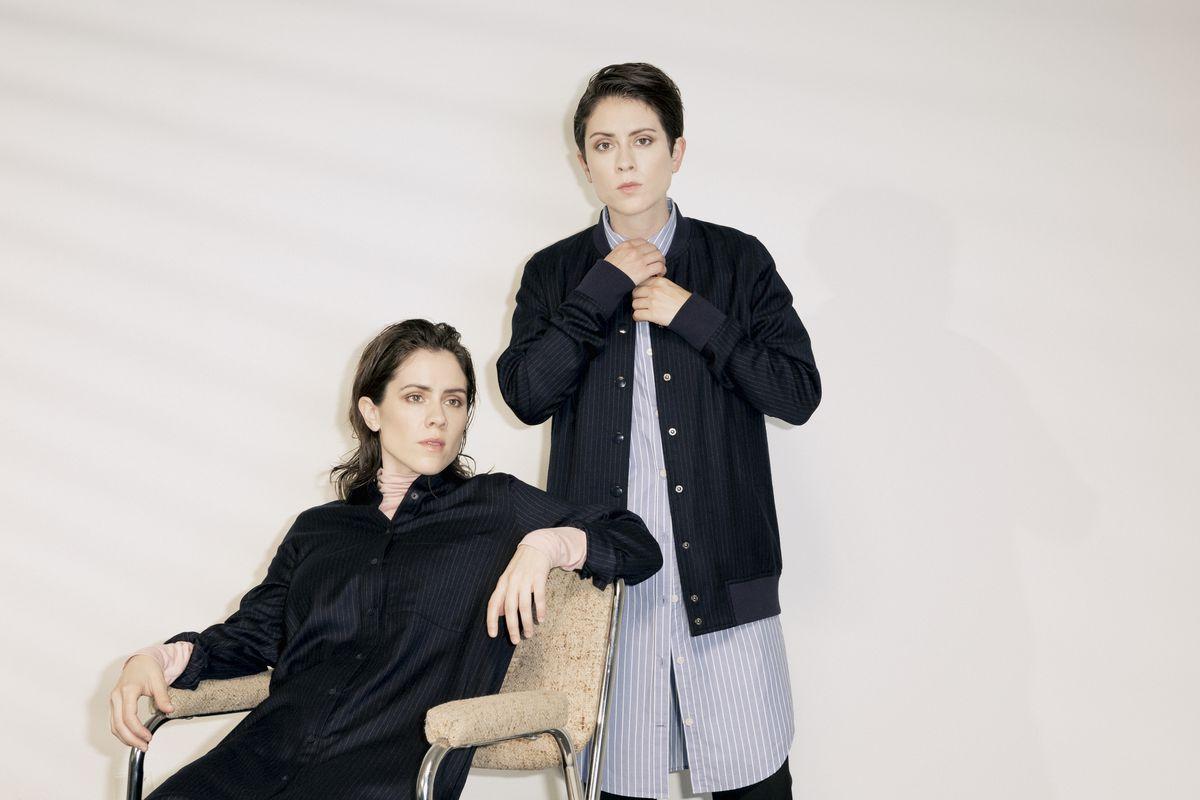 On Sara: Frank and Oak Chalkstriped Stretch-Wool Shirtdress, $139. On Tegan: Frank and Oak Chalkstriped Stretch-Wool Bomber, $129, and Striped Round-Hem Shirtdress, $69.50.