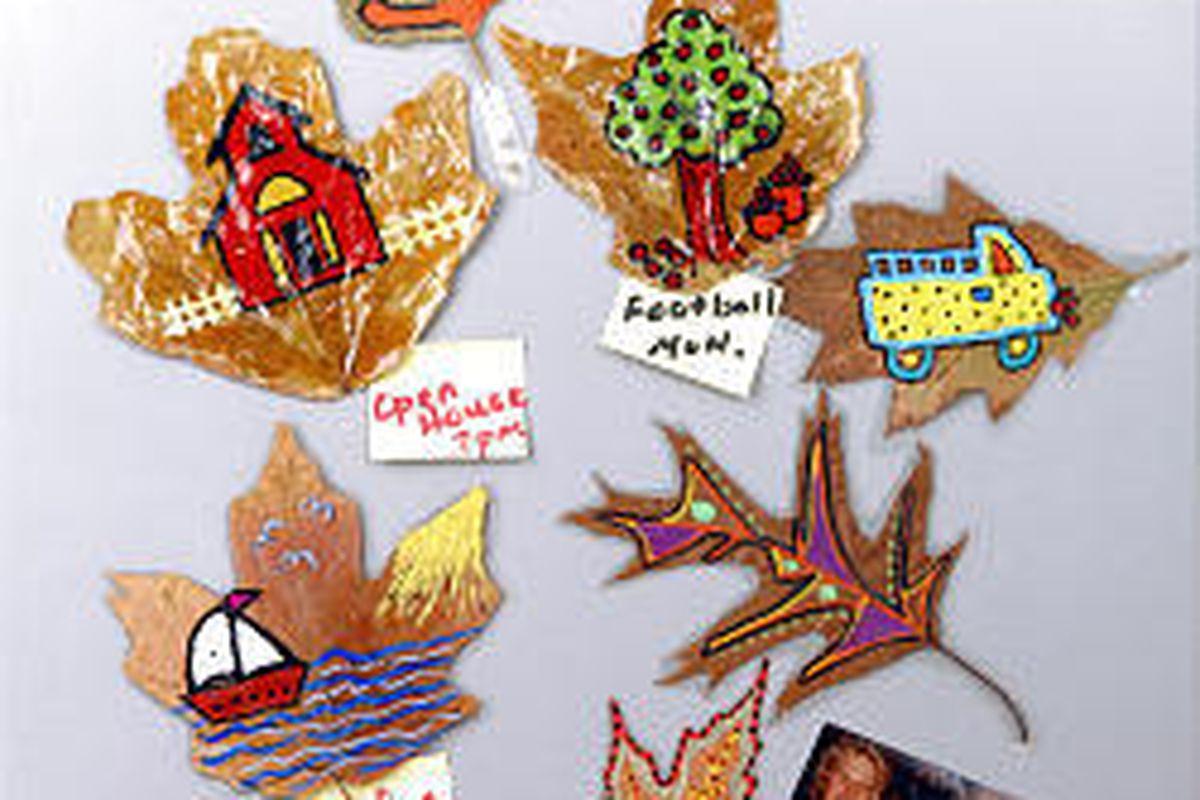 Colorful leaves are made into magnets.