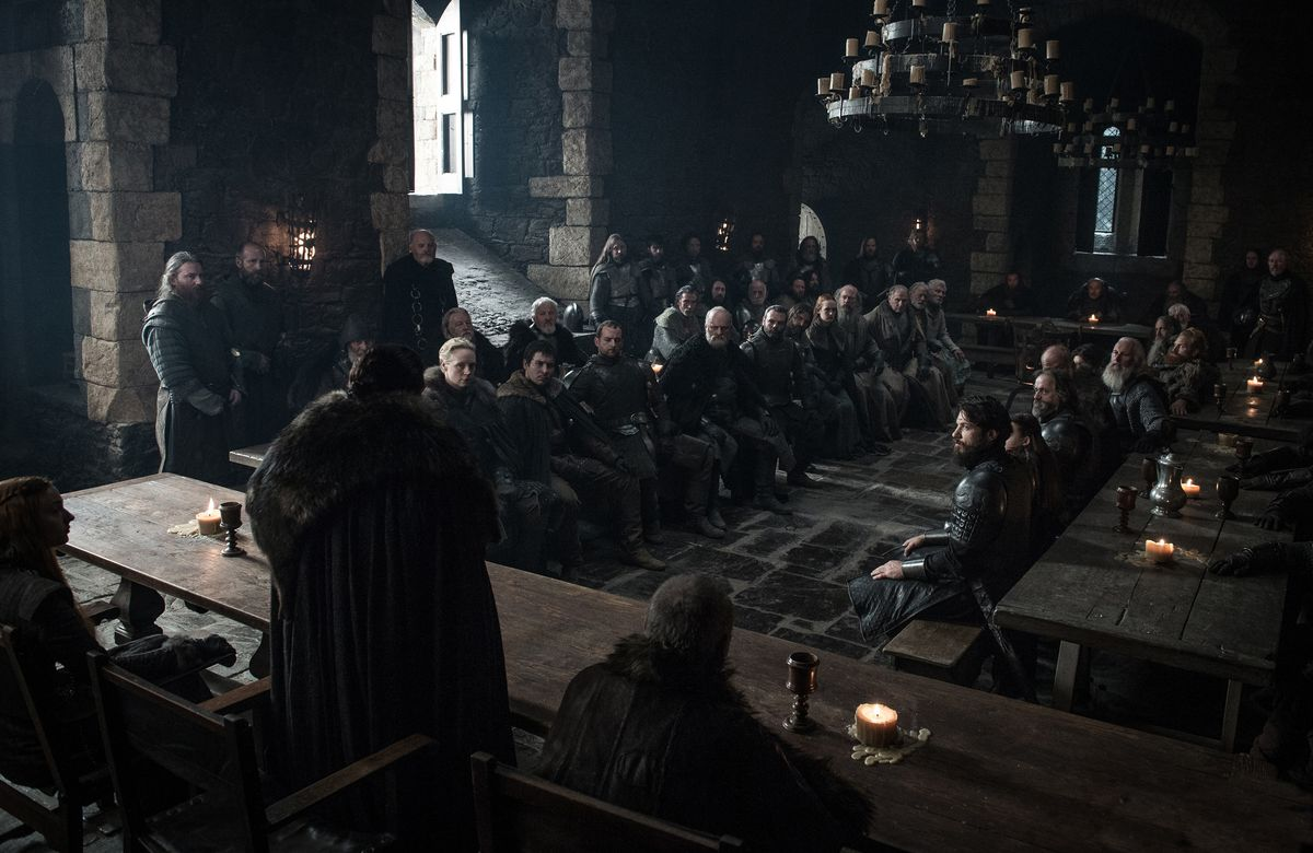 Jon Snow speaking to a room of people