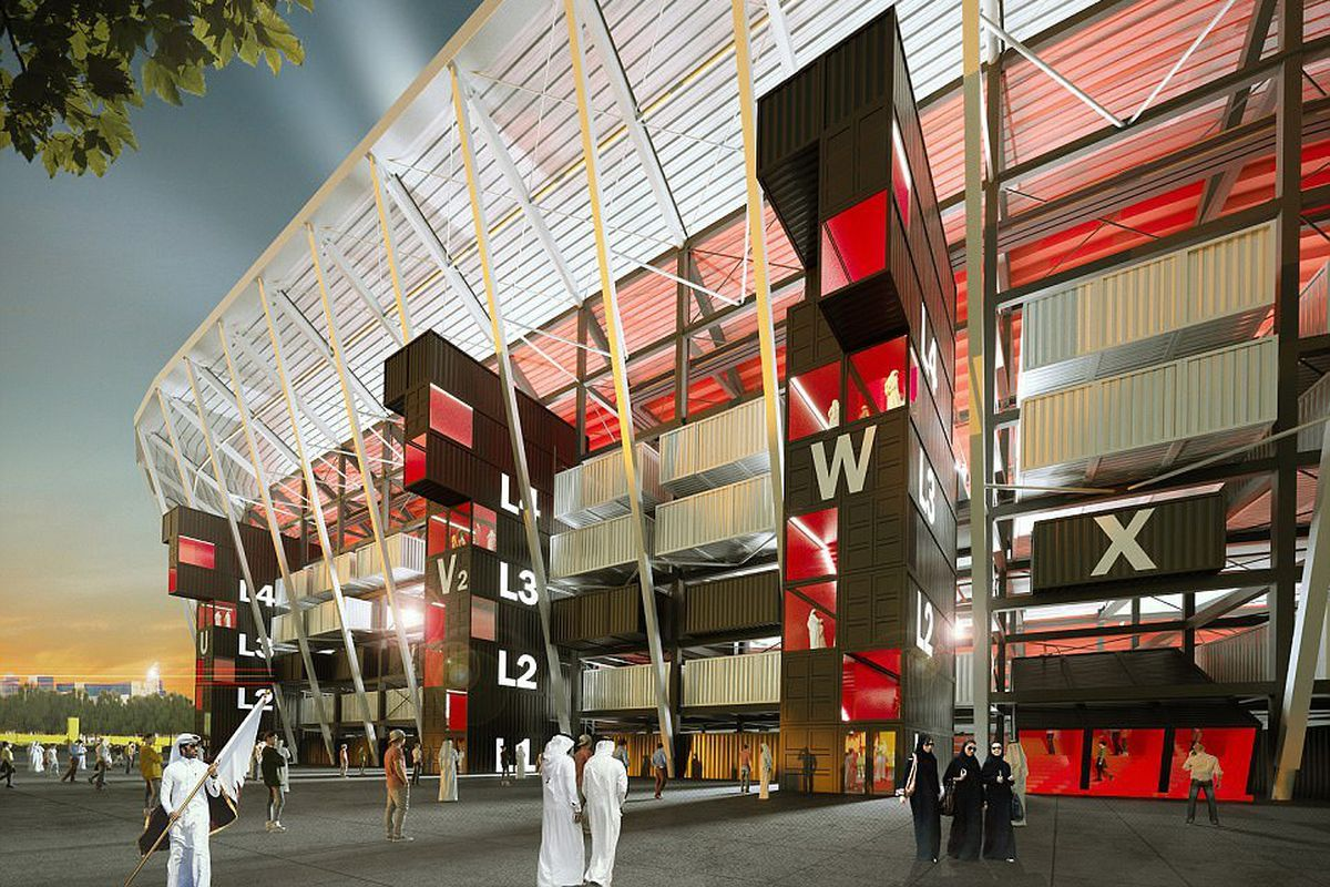 rendering of shipping container stadium for World Cup 2022