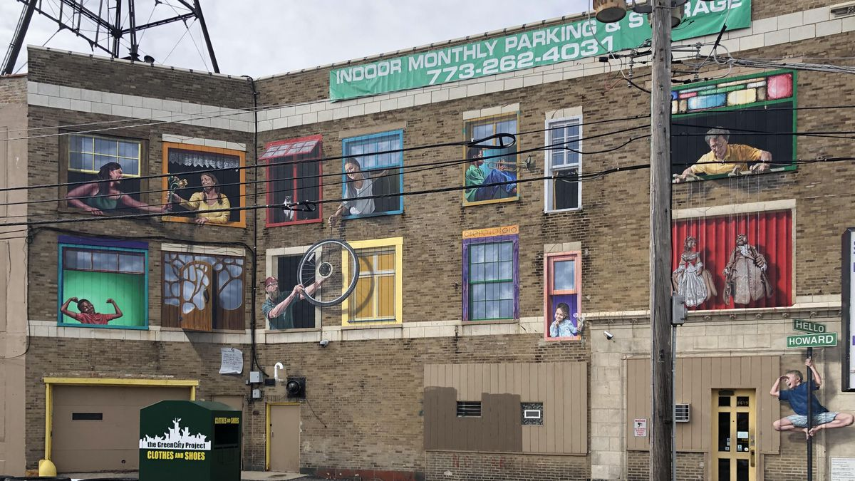 This three-dimensional mural by Matheu Bourque along Howard Street aims to capture the sense of community in Rogers Park.