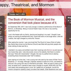 Screenshot of Morong's blog, Liza: Happy, Theatrical, and Mormon. On her blog, Morong shares her conversion story and other spiritual experiences.