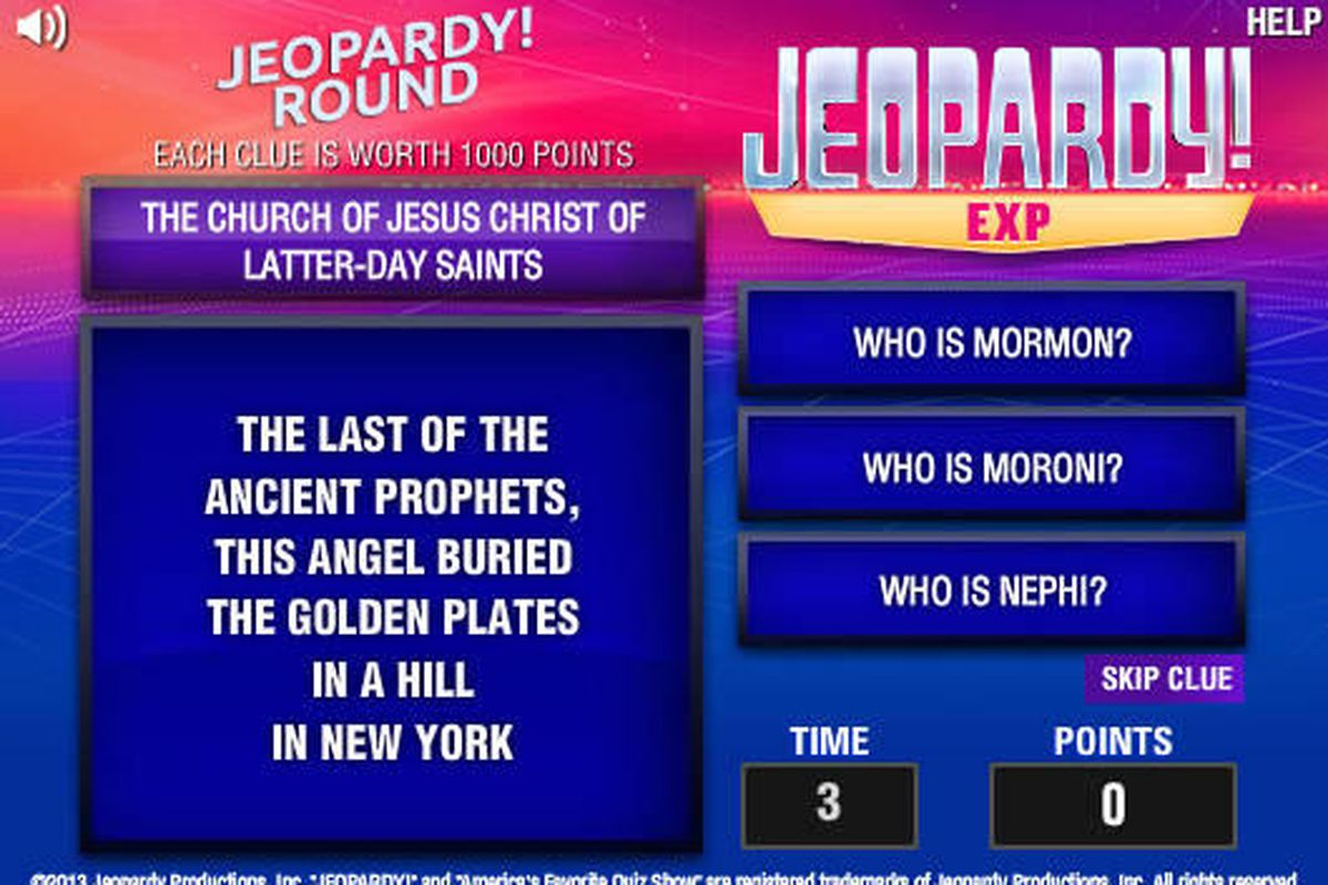 The LDS Church appears as a category on 'Jeopardy
