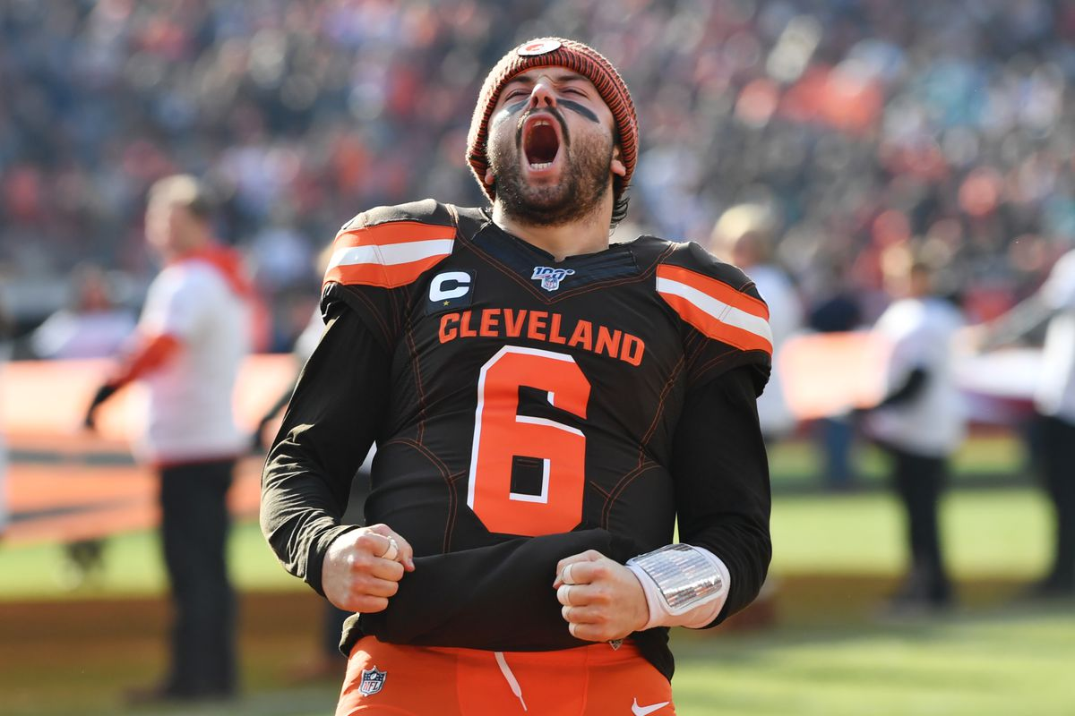 Cleveland Browns quarterback Baker Mayfield shouts to the crowd before the game between the Cleveland Browns and the Miami Dolphins at FirstEnergy Stadium.