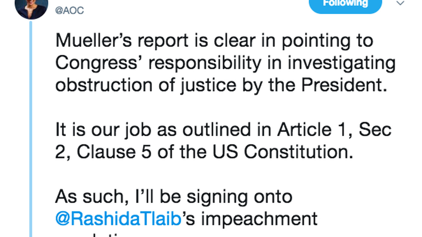 AOC on Mueller report: it's time to investigate Trump for impeachment